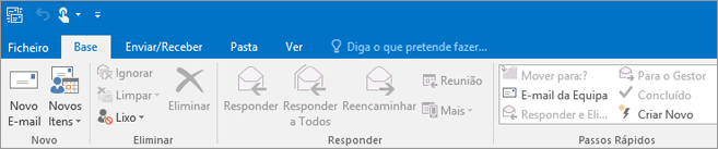 Este é o aspeto do friso no Outlook 2016.