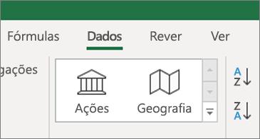 Separador dados a mostrar os tipos de dados de ações e Geografia