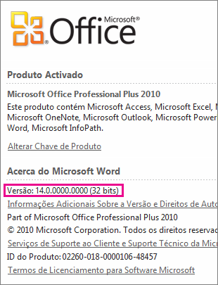 Número da versão do Office