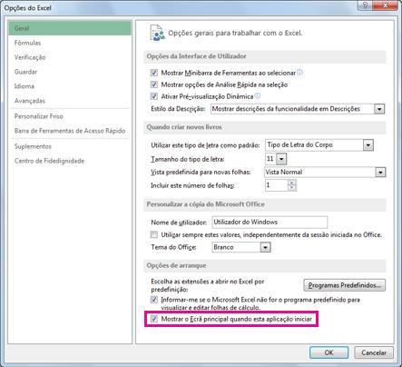 Opções de arranque na caixa de diálogo Opções do Excel