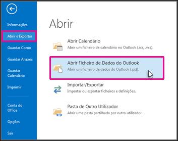 Abrir um ficheiro de dados do Outlook