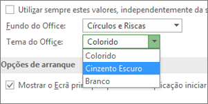 Menu pendente de temas do Office, opções de tema: Colorido, Cinzento-escuro e Branco