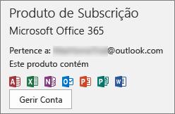 Mostra a conta de e-mail que está associada ao Office