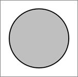 Mostra uma forma de círculo.