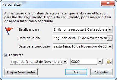 Caixa de diálogo Personalizar para definir lembretes, datas de início e de conclusão