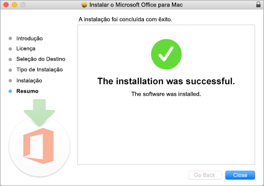 Mostra a última página do processo de instalação, que indica que a mesma foi concluída com êxito.