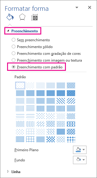 Selecionar preenchimento com padrão no painel Formatar forma