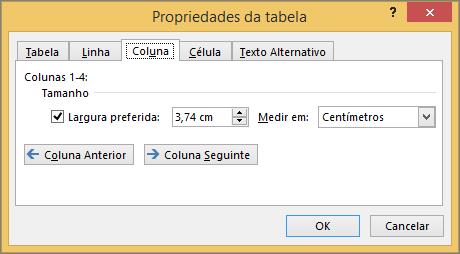 Separador de coluna na caixa de diálogo Propriedades da tabela