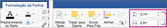 No separador Formatação da Forma, estão realçadas as caixas Altura e Largura.