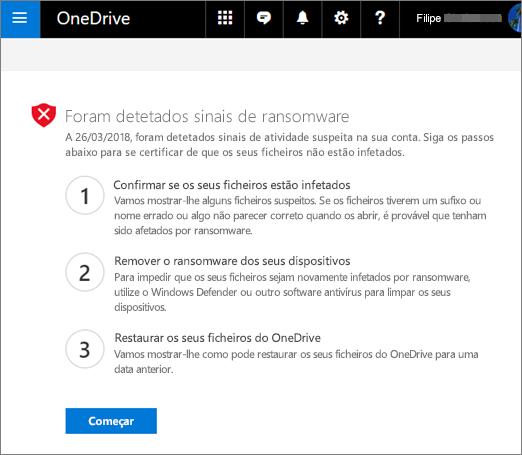Captura de ecrã a mostrar o ecrã sinais de ransomware detetados no site do OneDrive