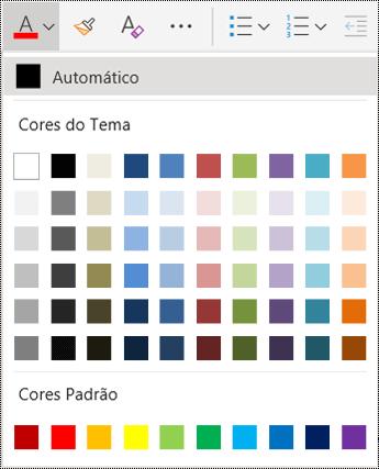 Opções do menu Cor do tipo de letra no OneNote Online.