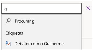 """Caixa de pesquisa com a letra """"g"""" e os resultados Debate com o Guilherme"""