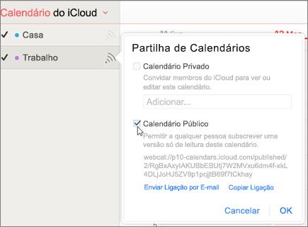 Definições de calendário público no iCloud