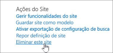 Menu definições do site com a eliminação deste site realçada