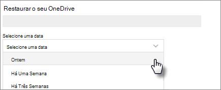 Captura de ecrã a mostrar a seleção de uma data no ecrã Restaurar o seu OneDrive