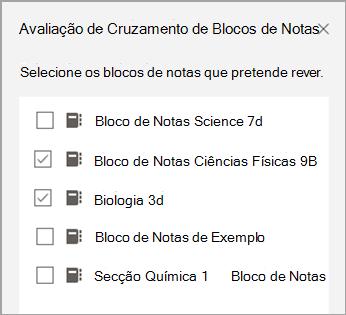 Seleção de blocos de notas de revisão cruzada.
