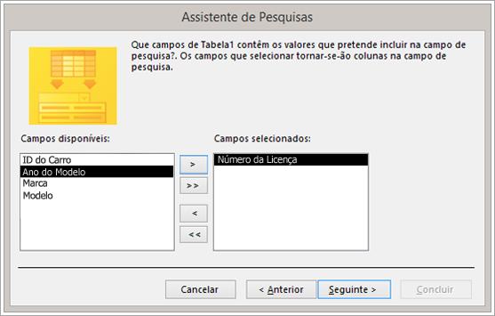 Captura de ecrã do Assistente de Pesquisas