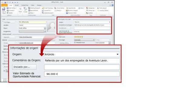 Liderar a secção de origem do registo a mostrar