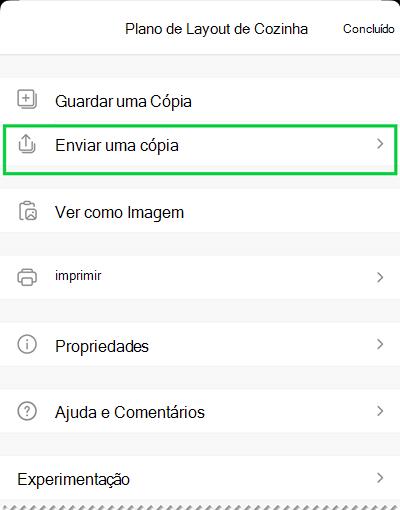 As opções Enviar uma Cópia no Visio Viewer para iOS.