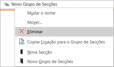 Caixa de diálogo Eliminar grupo de secções no OneNote para Windows