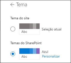 Selecionar um novo tema para o seu site do SharePoint