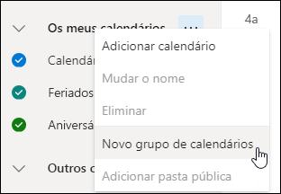 Uma captura de ecrã do botão Novo grupo de calendários