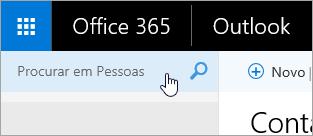 Uma captura de ecrã a mostrar a caixa Procurar em Pessoas, na página Pessoas.