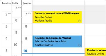 Calendário com três fusos horários à esquerda e reuniões no lado direito