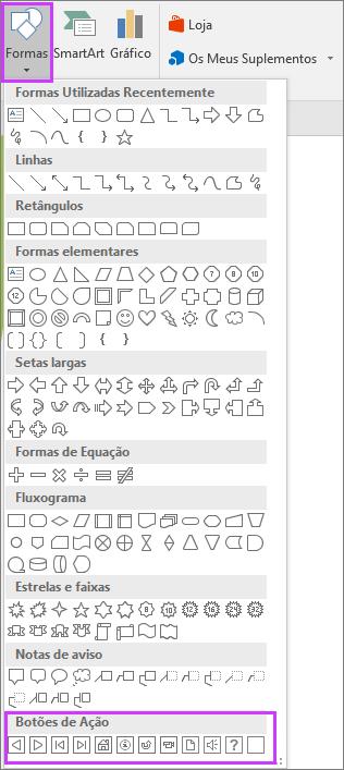 Apresenta o menu Formas no friso do PowerPoint com Botões de Ação realçados