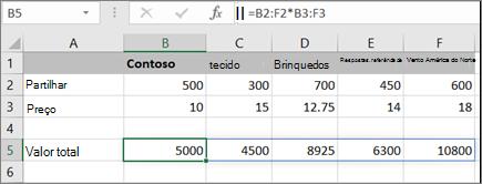 Um exemplo de fórmula de matriz a calcular vários resultados