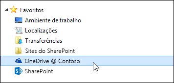 Pasta da biblioteca do OneDrive para Empresas listada nos favoritos do Windows