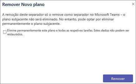 Captura de ecrã da caixa de diálogo Remover separador no Teams