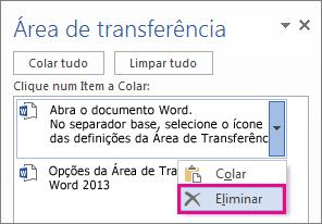 Eliminar um item da Área de Transferência do Word 2013