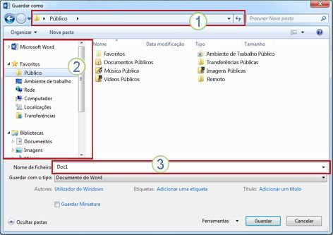 Caixa de diálogo Guardar Como do Windows Vista e Windows 7