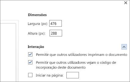 Opções de incorporação para um documento do Word
