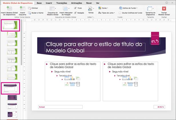 Apresentação com dois modelos globais de diapositivos