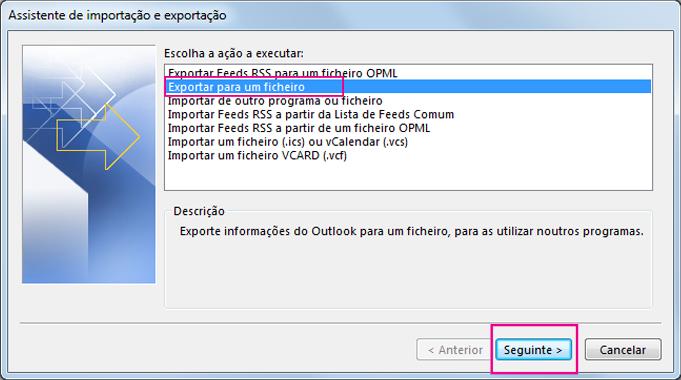 Selecione Exportar para um ficheiro