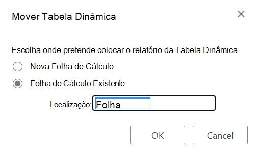 O diálogo Move PivotTable em Excel para a web.