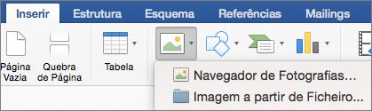 No separador Inserir, está realçada a opção Imagem a Partir de Ficheiro.