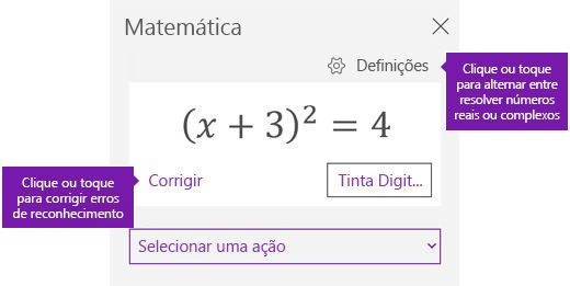 Uma equação no painel de tarefas de símbolos matemáticos