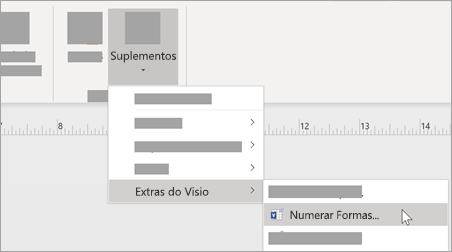 No separador ver, selecione suplementos > extras do Visio > formas de número para adicionar formatação de número.