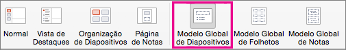 Comando Modelo Global de Diapositivos do PPT para Mac