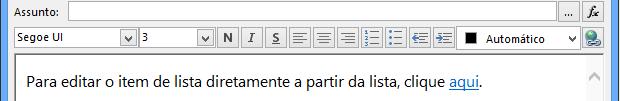 Ecrã Definir Mensagem de E-mail após inserir a variável