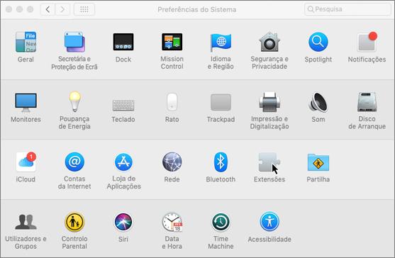 Captura de ecrã a mostrar as preferências do sistema num Mac