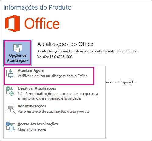 Procurar manualmente atualizações do Office no Word 2016