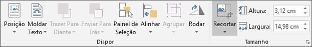 No separador Formatar, clique em recortar.