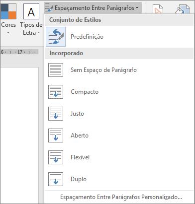 As opções Espaçamento Entre Parágrafos são mostradas no separador Estrutura.