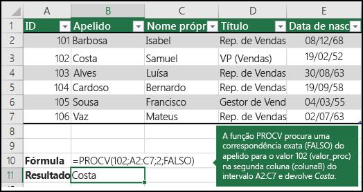 Exemplo 2 da função PROCV