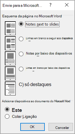 Caixa Enviar para o Microsoft Word