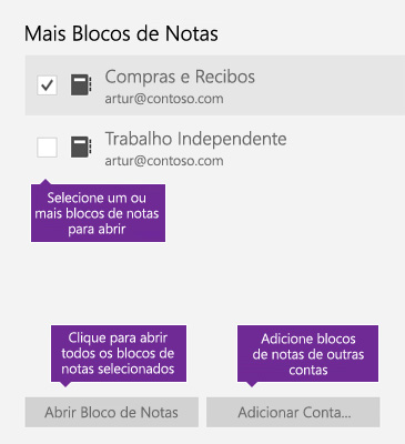 Captura de ecrã a mostrar a janela Mais Blocos de Notas no OneNote